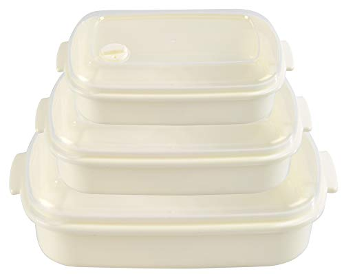 HOME-X Rectangle Food Storage Containers, Microwave Cookware, Easy Storage – 21 oz / 27 oz / 81 oz Capacity - Set of 3 – Cream