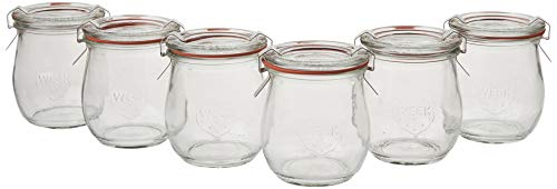 6 Mini Tulip Jelly Jar with Glass Lids 6 Rings and 12 Clamps