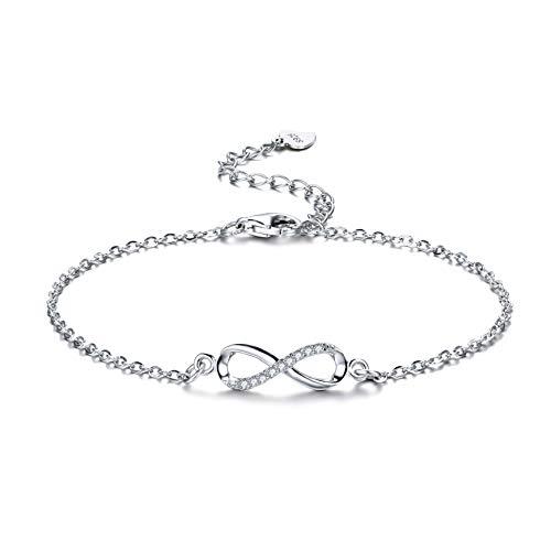 F.ZENI Armbänder Damen 925 Sterling Silber Funkeln Kubisches Zirkonia Kuss Armband Akzent Unendlichkeit für Immer Armbänder für Damen