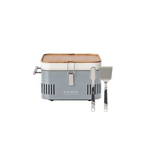 Everdure by Heston Blumenthal Cube Portable Charcoal Grill with Stainless Steel Spatula & Tongs:...