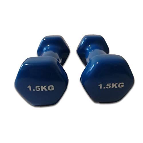 Natural Logistics - Kit di manubri in vinile, coppia da 4 kg, per palestra, fitness, ideali per creare una palestra in casa, Kottao (4 kg, blu)