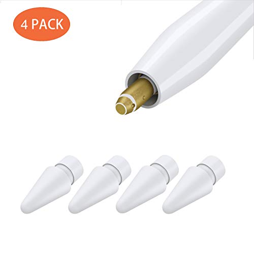 Replacement Tips Compatible with Apple Pencil 2 Gen iPad Pro Pencil, Logitech Crayon Digital Pencil - Apple Pencil iPencil Nib for iPad Apple Pencil 1 st/Pencil 2 Gen White 4 Pack