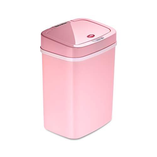 Ninestars DZT-12-5PK Bedroom or Bathroom Automatic Touchless Infrared Motion Sensor Trash Can, 3 Gal 12 L, ABS Plastic (Rectangular, Pink) Trashcan