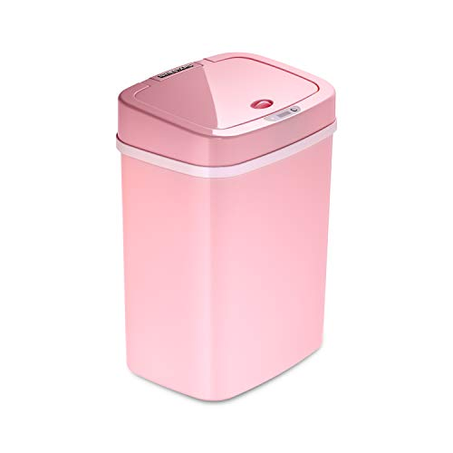 Ninestars DZT-12-5PK Bedroom or Bathroom Automatic Touchless Infrared Motion Sensor Trash Can, 3 Gal 12 L, ABS Plastic (Rectangular, Pink) Trashcan