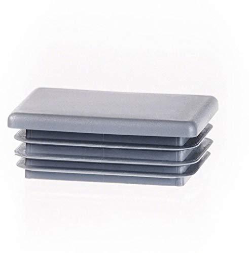 Rechteckstopfen 60x20 mm Grau   5 Stück   Kunststoff Endkappen Verschlusskappen