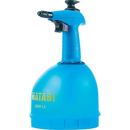 matabi Berry 1, 5 Pulverizador de Presión Previa con Boquilla Conica Regulable y Deposito Translucido, 1.5 litros Capacidad Total, Azul, 1.5