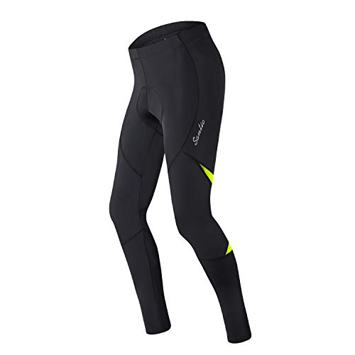 Santic Pantalones de ciclismo para hombre, acolchados, mallas de ciclismo para hombre, polainas de invierno - Barry, Hombre, verde, M