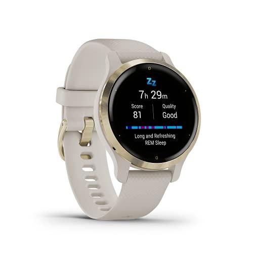 """Garmin Venu 2S – schlanke GPS-Fitness-Smartwatch mit ultrascharfem 1,1"""" AMOLED-Touchdisplay, umfassenden Fitness-/Gesundheitsfunktionen, über 25 vorinstallierten Sport-Apps, Garmin Music & Garmin Pay"""