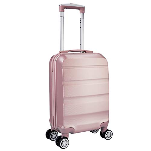 WOLTU Reise Koffer Trolley Hartschale Reisekoffer Kinder Hartschalenkoffer Handgepäck 4 Rollen, 53x33x20cm, leicht und günstig, Rosagold