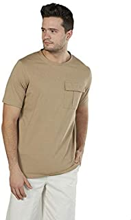 Splash Solid Cotton Front Pocket Round-Neck Short Sleeves T-shirt for Men
