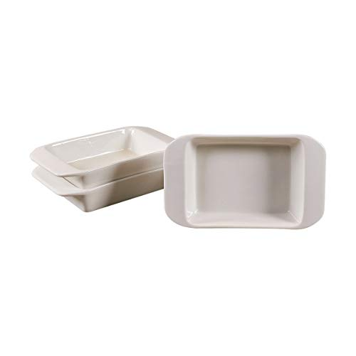 Set of 4 Mini Rectangular Bakers by CIROA   White Ceramic 'Essentials' Loaf Pans