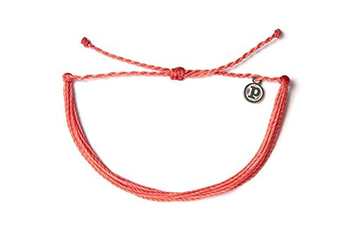 Pura Vida Solid Coral Bracelet - Handcrafted with Iron-Coated Copper Charm - Wax-Coated, 100% Waterproof