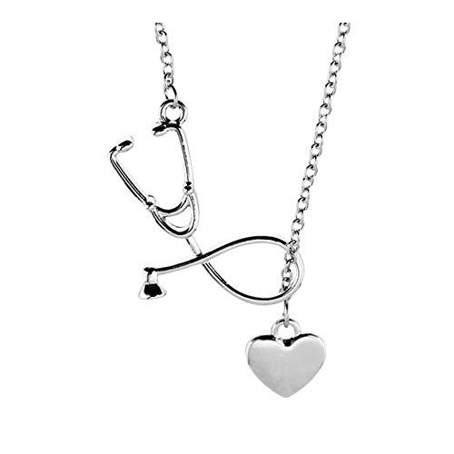 SHOYY Collar, Corazón y Estetoscopio Colgante for Doctor Gift Estudiante de Medicina, la joyería Doctor Nurse (Metal Color : Xl0605)