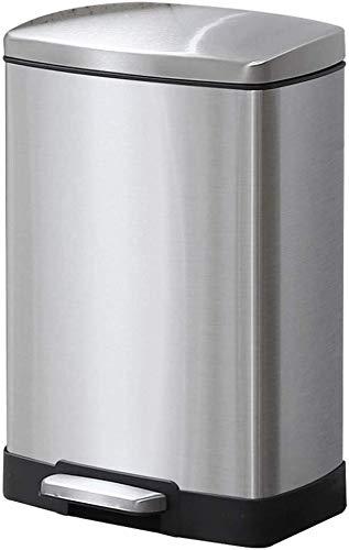 RFJJAL Edelstahl-Mülleimer Müll Treteimer Typ Haushaltsreinigung Badezimmer Badezimmer Wohnzimmer Europäische Rechteckige Schüssel-Küche (Color : Silver)