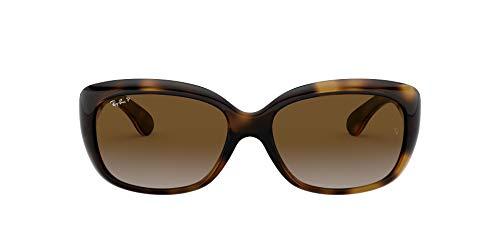 Ray-Ban Women's RB4101 Jackie Ohh Rectangular Sunglasses, Light Havana/Polarized Brown Gradient, 58 mm
