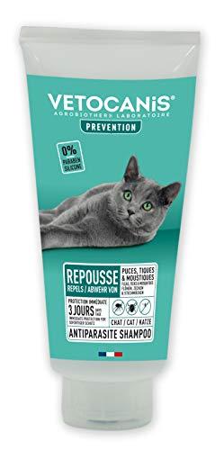 VETOCANIS, Shampooing Anti-puces et Anti-tiques pour Chat, à l'extrait de Plantes, 0% Paraben 0% de Silicone, Effet répulsif 300ml