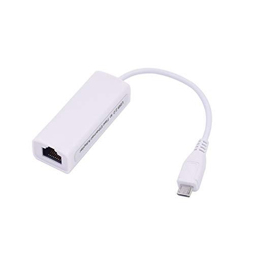 Uniquelove Interfaz De Cable Micro USB A Ethernet Adaptador Ethernet OTG Internet con Cable Android Tablet Pc Tarjeta De Red - Blanco