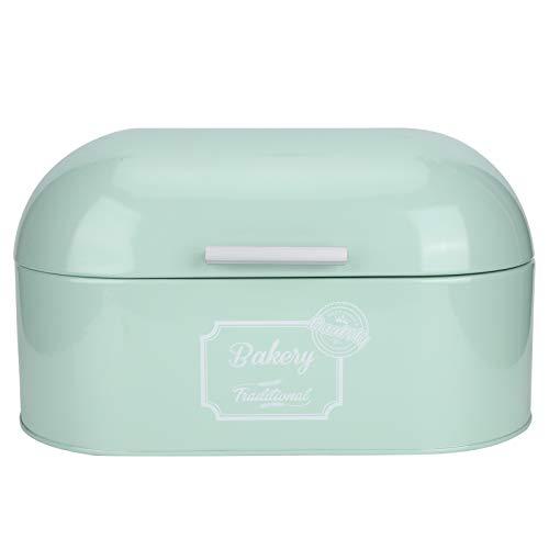 Recipiente de pan, caja de pan de hierro verde menta Caja de almacenamiento de pan con tapa Recipiente de almacenamiento de alimentos para panes, pasteles, rollos de cena