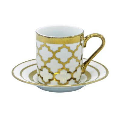 Porcelain China Espresso Turkish Coffee Demitasse Set of 6 Cups + Saucers with Metallic Gold Design (Moroccan Tile)