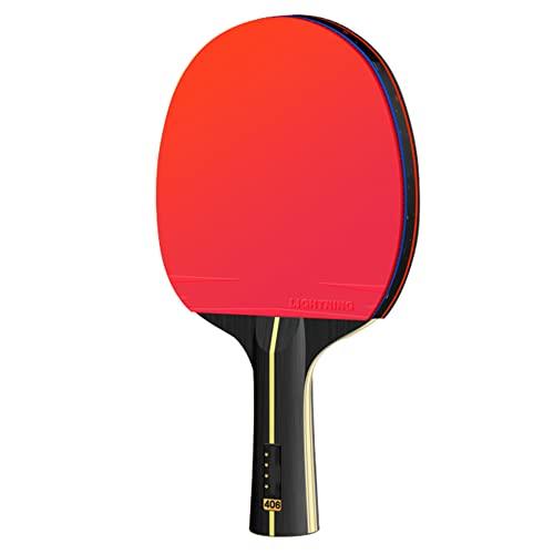 LINGOSHUN Raquetas de Tenis de Mesa de 4 Estrellas,Mango Cómodo,Raquetas de Ping Pong de Carbono para Entrenamiento de Alto Nivel,Goma Aprobada por la ITTF / 1 Pack/Long handle