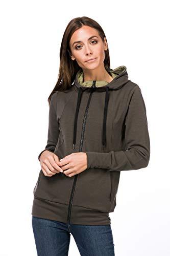 Super.Natural Veste à Capuche Confortable pour Femme en Laine mérinos avec Fermeture Éclair W Rivffler XS Killer Kaki/Bambou