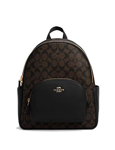 Coach Women's Court Backpack In Signature Canvas (Brown - Black)