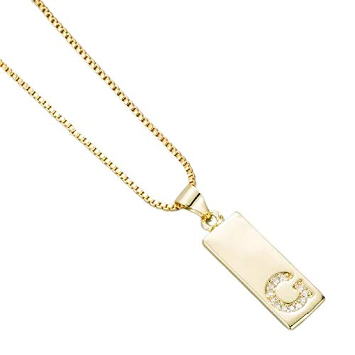 AK.SSI Collar con Colgante Cuadrado para Mujer y Hombre Colgantes de 26 Letras A-Z Collares con Iniciales de Oro de 18 Quilates para Regalo de Graduación