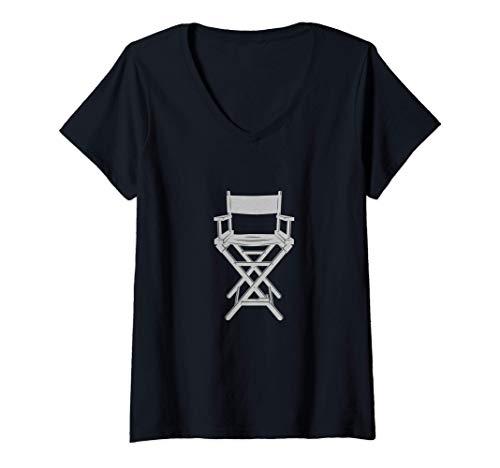 Mujer Regalo de silla de director para cineastas Camiseta Cuello V