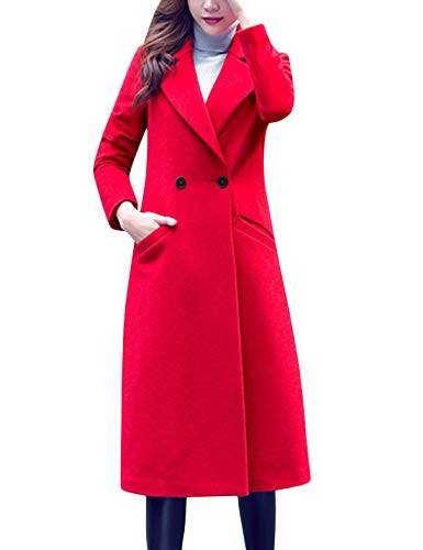 Tanming Women's Notch Lapel Double Breasted Wool Blend Mid Long Pea Trench Coat (Red, Large)