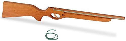 BestSaller 1221 Flinte Gewehr aus Holz mit Funktion (schießt Gummis), ca. 60 cm, natur (1 Stück)