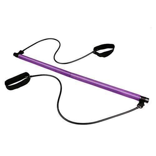Le Gymnase Rikey Bodybuilding Yoga Pilates Stick avec Sangle de Pied Core Strength Fitness Gym Resistance Band Bar Kit-Id/éal pour lentra/înement Complet du Corps lhalt/érophilie /à la Maison