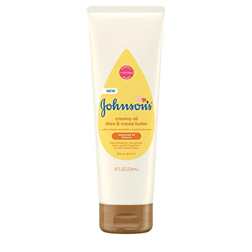 Johnson's Creamy Oil for Baby with Shea & Cocoa Butter, Moisturizing Body Lotion with Gentle Fragrance, Hypoallergenic, Non-Greasy, Paraben-Free, Phthalate-Free and Dye-Free, 8 fl. oz