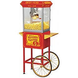 Find Bargain Full Size Red Carnival Style 8-oz Hot Oil Popcorn Machine with Cart Metal Plastic Stain...