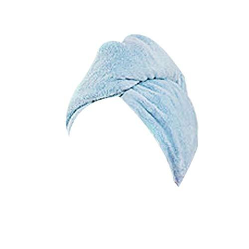 Vommpe - Serviette à cheveux en polaire corail épaisse, triangulaire, absorbant à séchage rapide, pour salle de bain, douche, lavage des cheveux, 63 x 23 cm rose clair