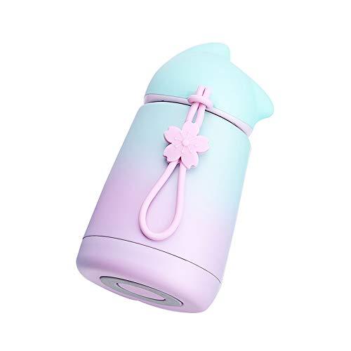 Borraccia termica a bocca larga, in acciaio inox, con isolamento sottovuoto, mantiene l'acqua fredda per 24 ore, calda per 12 ore, tappo senza BPA, 300 ml (verde, rosa)