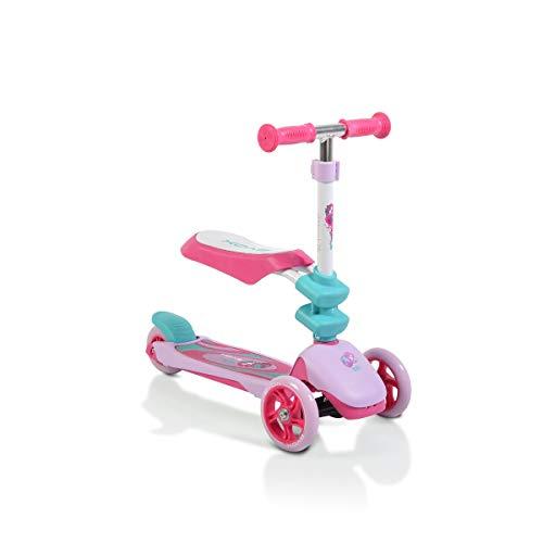 Byox Kinderroller Epic 2 in 1, Roller u. Laufrad, 3 PU Räder, klappbar, ab 3 J, Farbe:pink
