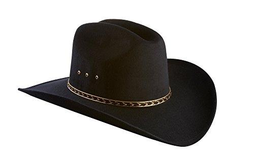 Faux Felt Wide Brim Western Cowboy Hat Elastic Band-Black-S/M
