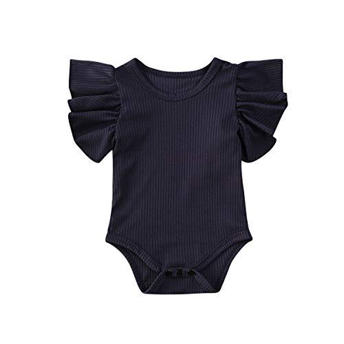Kuriozud Newborn Baby Girl Basic Ruffle Sleeve Romper Cotton Bodysuits Summer Clothes (Royal Blue, 0-3 Months)