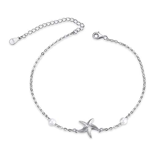 Beach Starfish Anklet for Women Sterling Silver Boho Pearl Ankle Bracelets Gifts