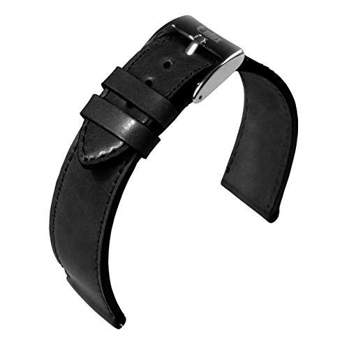 Eulit Lederband Eulux Schwarz 20mm 484620102 geeignet für Nomos Uhren