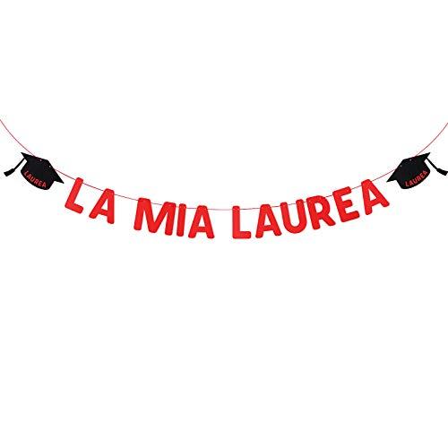 BETESSIN Striscione La Mia Laurea Ghirlanda Festoni Bandierine Decorazione per Festa di Laurea università Accademico Addobbi Rosso