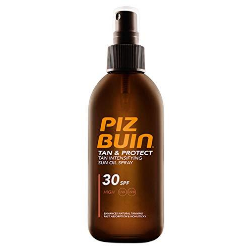 Piz Buin Tan & Protect Tan Accelerating Oil Spray LSF 30, schnell einziehendes Bräunungsbeschleuniger Sonnenöl Spray mit Sonnenschutz (1 x 150 ml)