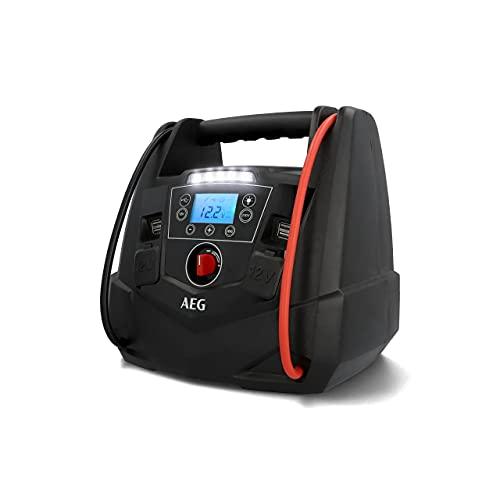 AEG Tragbare 12V Energiestation Auto Starthilfe, Powerstation mit Luftkompressor, 220V Spannungswandler, Steckdose,mit 4 USB