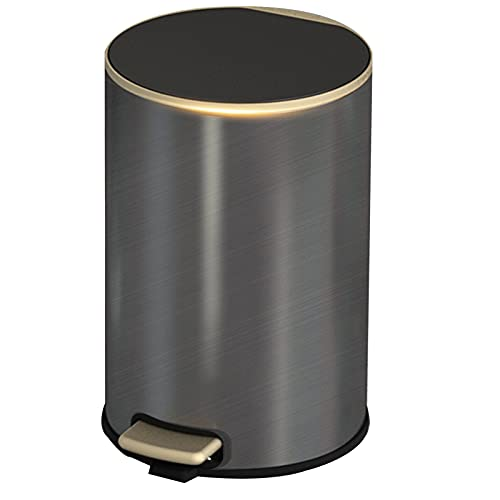 GYCC Round trash can with soft close stainless steel cosmetic bin, cosmetic pedal bin rubbish bin for bathroom, kitchen(Color:dark gray,Size:6L)