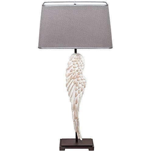 Einzigartige Tischleuchte ANGEL 85cm Engelflügel mit Leinenschirm Shabby Chic Tischlampe Lampe Nachttischleuchte