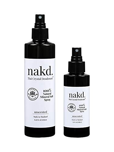 nakd. Thai Crystal Deodorant Spray – 2 Salt Deodorant Crystal Sprays, 8.45 FL oz. Regular + 3.3 FL oz. Travel Size – All Natural and Unscented Aluminum Free Deodorant for Women, Men, and Kids