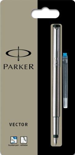 Parker Füllfederhalter Vector Edelstahl C.C. 1er Blister, Strichbreite M Schreibfarbe blau