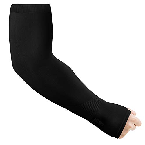 Yandu UV Schutz Kühlung Arm Sleeves für Männer Frauen Lange Armabdeckung Sonnenschutz Sleeves mit Daumenloch Design für Radfahren, Fahren, Angeln, Golf, Basketball Einheitsgröße (Schwarz, 1 Paar)