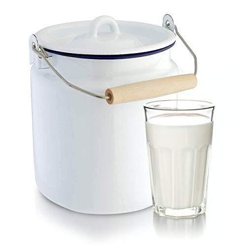 Oramics Emaille Milchkanne mit Deckel, Tragehenkel mit Holzgriff - 3,5 Liter Kanne mit Henkel aus Stahl emailliert für Milch Saft und andere Getränke - Nostalgie Transportkanne 16 cm rund 20,5 cm hoch