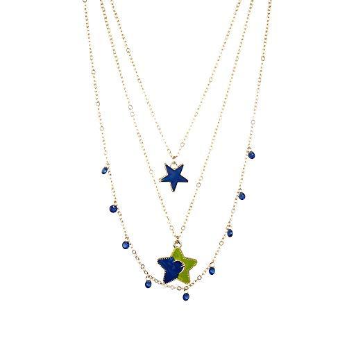 Drreny Girl - Collana sottile in stile retrò, con perline a mosaico, a tre strati e Metallo di base placcato al rodio , colore: A0867-1 Oro, cod. 9875042760585